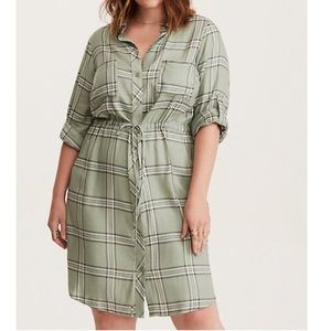 Torrid | Olive Plaid Drawstring Shirt Dress